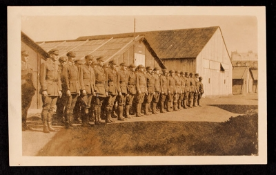 Men lined up outside of the barracks at the Officers' Training School at Meaux