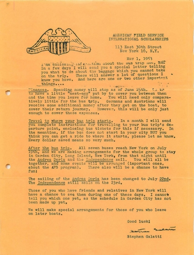 Monthly Letter May 1953