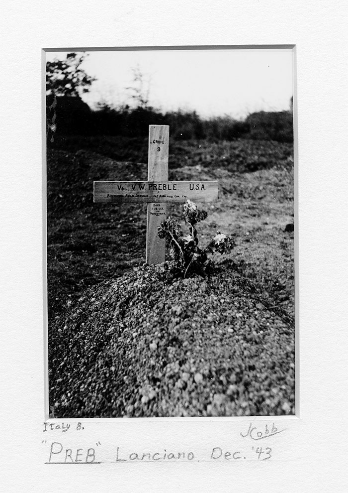 Temporary Grave of AFS Volunteer Vernon W. Preble