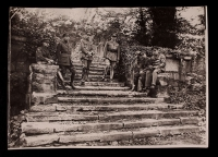 A. Piatt Andrew and Stephen Galatti with AFS men on the garden stairs at 21 rue Raynouard (posed)