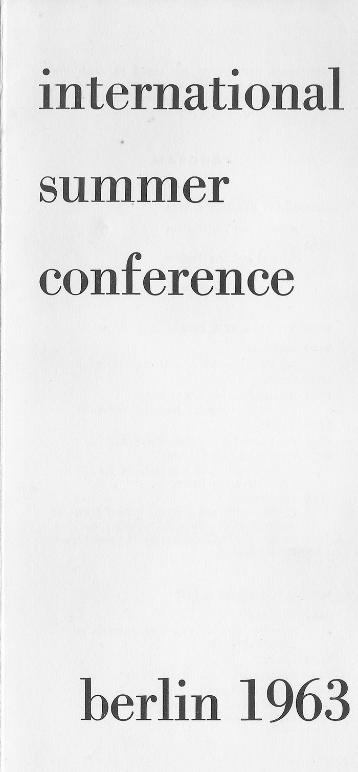International Summer Conference, Berlin 1963