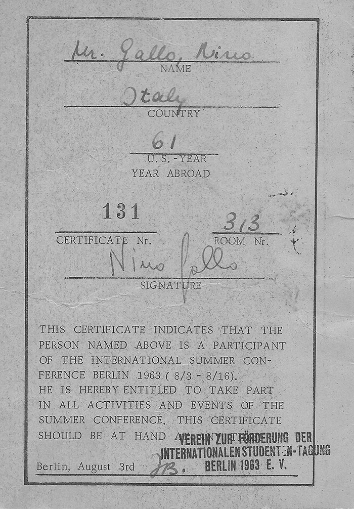 ID Card for Summer Conference 1963