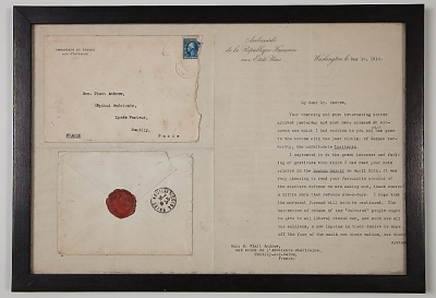 Framed letter from Jusserand to A. Piatt Andrew