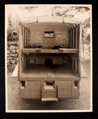 AFS ambulance interior view with stretcher racks down