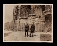 A. Piatt Andrew with an ambulance driver at Reims Cathedral