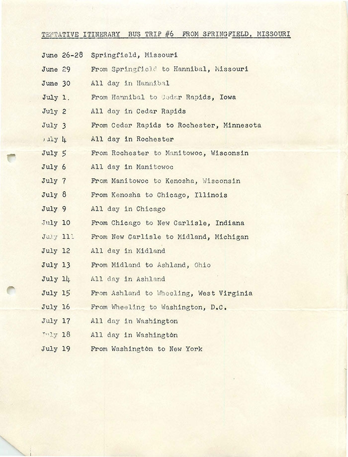 Tentative Itinerary Bus #6 (1953)